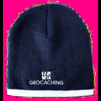 Geocaching Strickmütze, dunkelblau