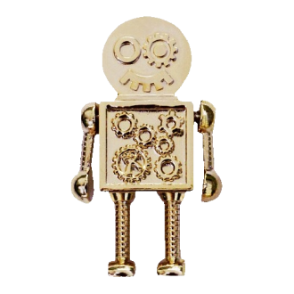Steampunk Roboter, Geocoin, Gold-Edition