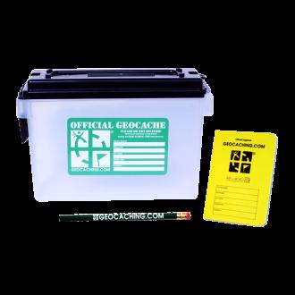 Kunststoff-Munitionsbehälter, Logbuch und Bleistift