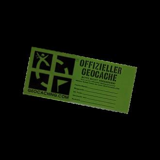 """Groundspeak Sticker """"Offizieller Geocache"""", grün, MIKRO"""