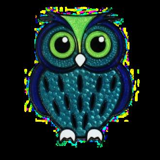 Eule, Micro-Geocoin, Blau-Grün