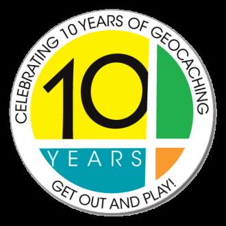 """Groundspeak """"10 Jahre Geocaching"""" Sticker, 4-farbig"""