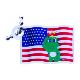 Signal mit USA Flagge, Travel Tag