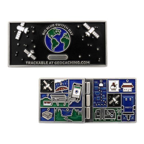 Blue Switch Geocoin- Before and After Edition