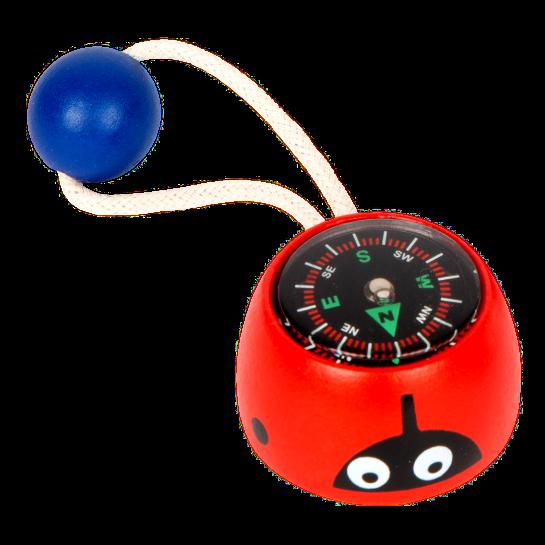 Mini-Kompass, Marienkäfer, rot