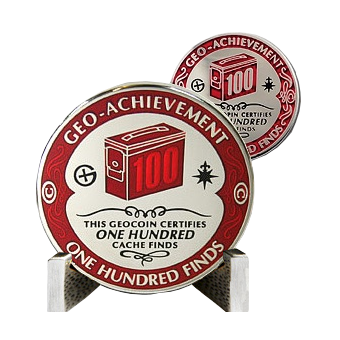 achievement coin 100 geocaches found