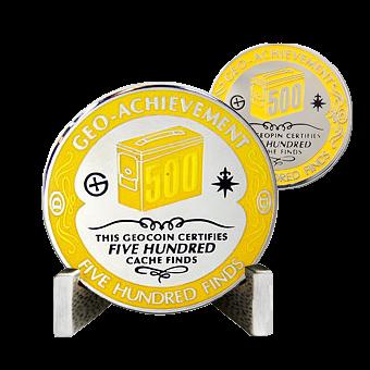 achievement coin 500 geocaches found