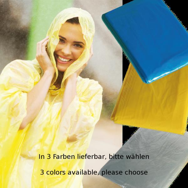Regenponcho mit Kapuze, Einheitsgröße