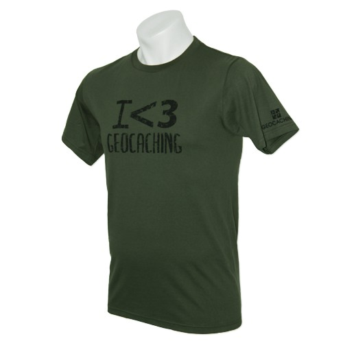 "Groundspeak ""I <3 Geocaching"", T-Shirt, grün"